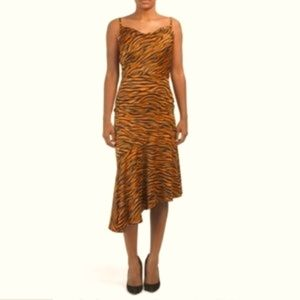 NWT J.O.A. Cowl neck dress tiger print in size S